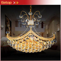 ZX Modern K9 Crystal LED Chandelier Gold Luxury Ship Type Hanging E14 Light Fixture For Dining