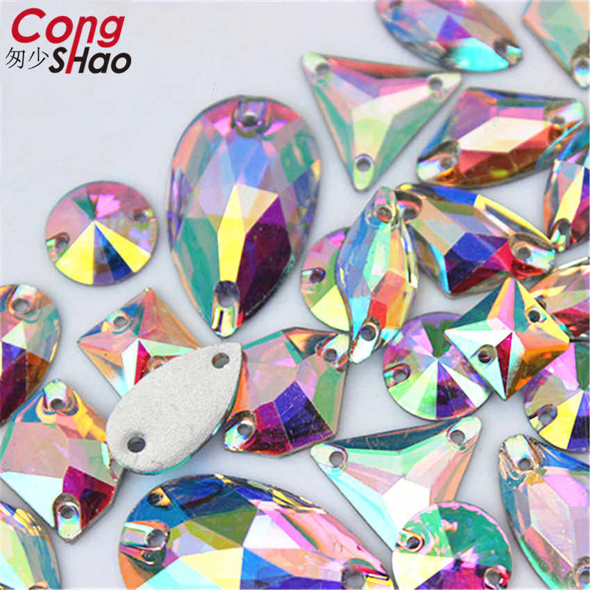 New Multicolor 3D Diamond Flat Bottom Double Hole Hand Sewn Diamond 21mm Handmade DIY Clothing Accessories