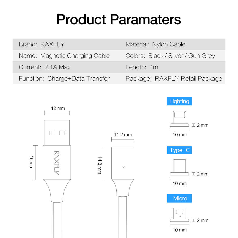 raxfly magnet micro usb type c cable for huawei p20 magnetic charging usb cable for iphone [ 1000 x 1000 Pixel ]