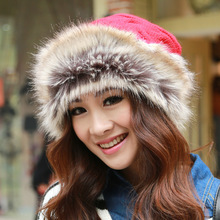 Newly design Mongolia princess knitted hat fashion hat collar dual purpose winter women beanie