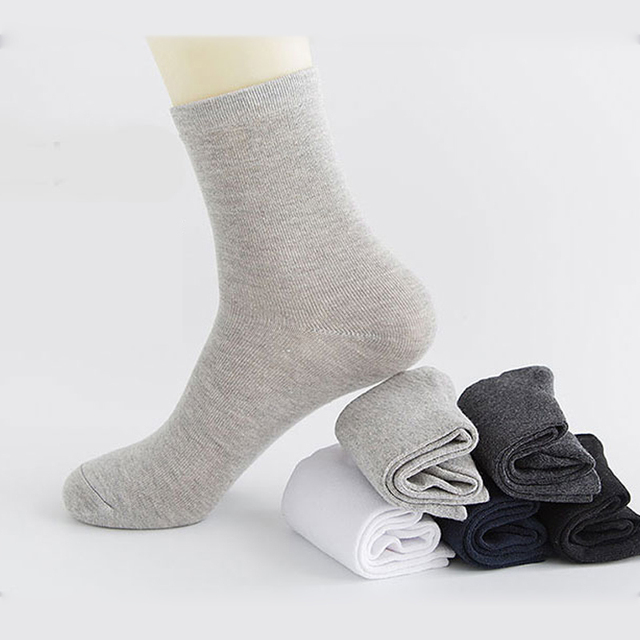 Casual Men's Business Socks For Men Cotton Brand Socks  5 Pairs Free Size