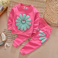 ST185 2016 Spring Autumn Children Girl Clothing Set Baby Girls Sports Sunflower Costume Kids Clothing Set