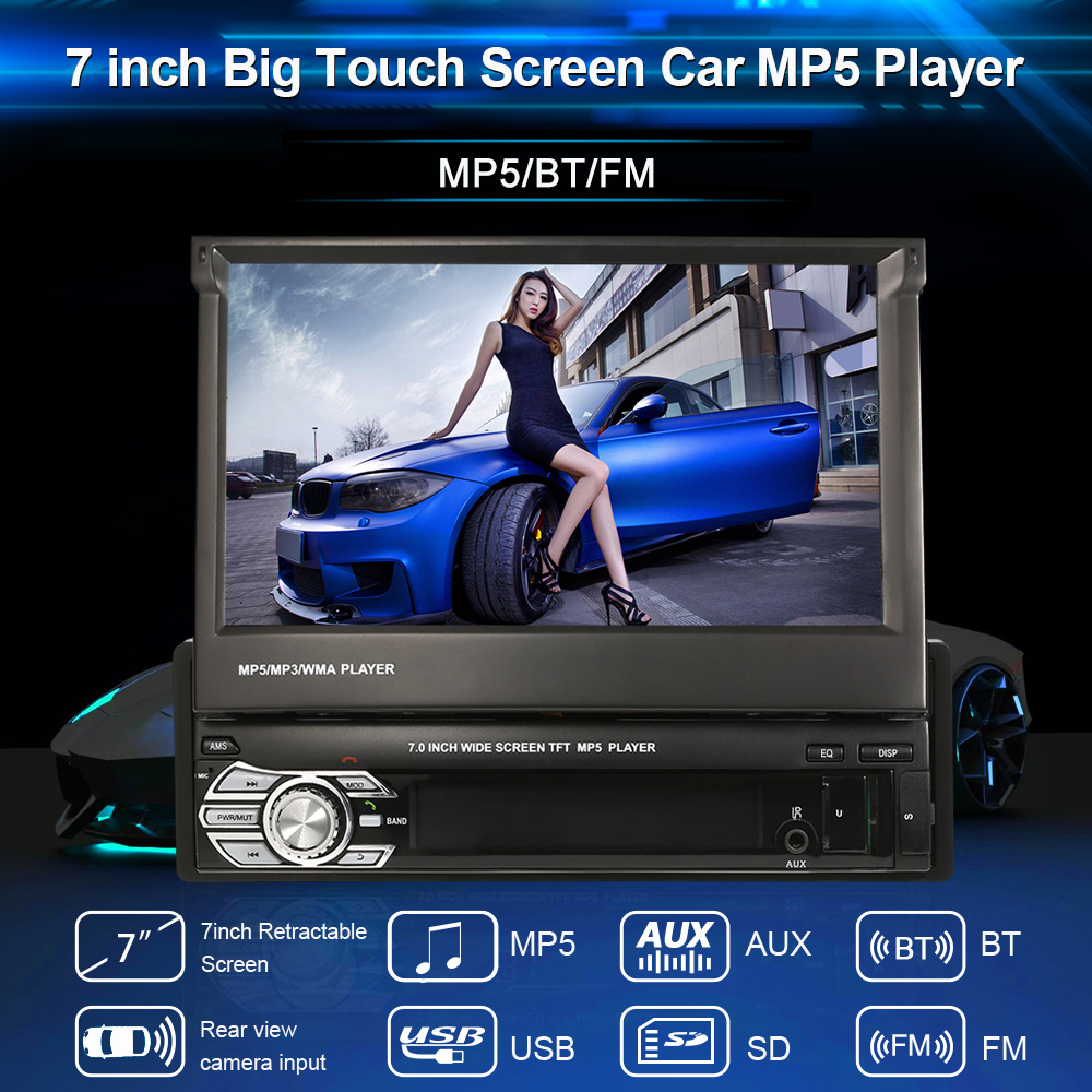 Universale 7 ''Lettore Retrattile Car Stereo Radio video Lettore Intrattenimento Multimediale con FM/MP5/USB/AUX/BT/Rear view Camera