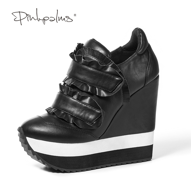 Pink Palms Women's Shoes Genuine Leather Wedges High Heels Ladies Shoes with Ruffles Casual Pumps Woman Heel Shoes Sneakers pink palms 2018 newest casual pumps women shoes high heels wedge shoes lace up and ankle strap ladies sneakers denim shoes
