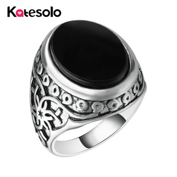 Hot Sale Cool Vintage Black Resin Stone Men Ring Gold/silver Color Charm Turkish Indian Jewelry titanium ring
