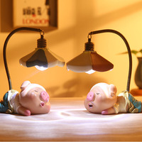 Cute Meng Bao Pig Ornaments Night Light Japanese Groceries Crafts Creative Resin Crafts Study Lamp For