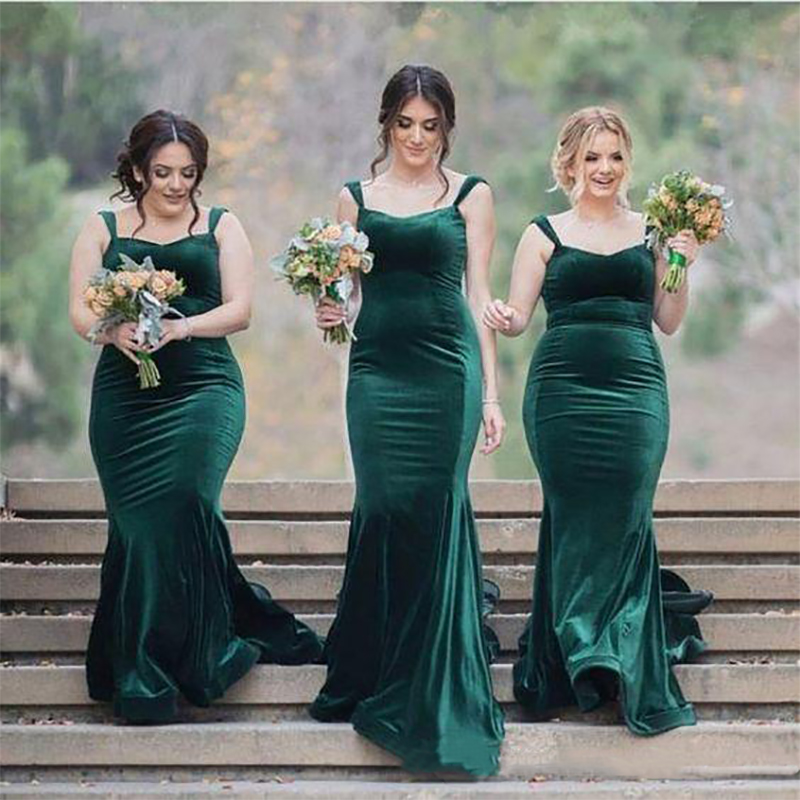 Vestido madrinha Green Velvet Mermaid   Bridesmaid     Dresses   Spaghetti Guest Gowns Maid Of Honor vestido boda mujer invitada