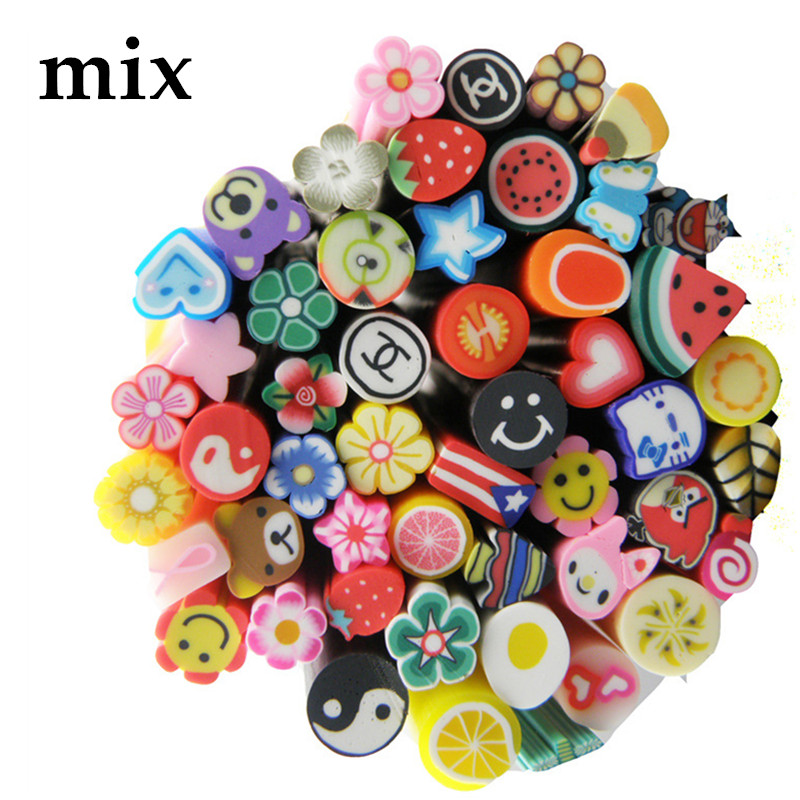 1pack(50pcs) Nail Art Decoration Polymer Clay Fruit/Christmas/Butterfly Stickers Set Gel Polish Tips Fashion DIY Cute Nail Decor 10pcs pack 2mm mix colors rolls metallic adhesive striping tape wide line diy nail art tips strip sticker decal decoration kit