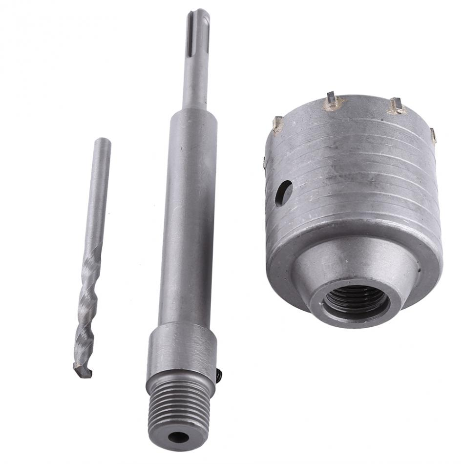 1 Set 65mm Carbide Tipped Metal Concrete Drill Bit Wall Hole Saw Cutter Set Brick Cement Stone 200mm Rod With Wrench 1set home power tool 50mm concrete cement wall hole saw set drill bit connecting rod wrench power tools tile tool