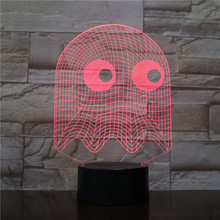 Game PAC MAN Lamp Table 3D Bedroom Decorative Illusion Child Kids Baby Kit Blinky Inky Clyde Ghost Night Light LED