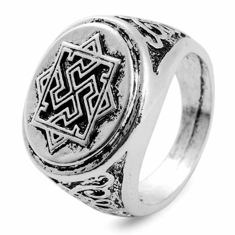 1pc Antique Silver Slavic Ring Valkyrie Signet Rings Pagan