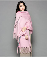 Newest pink winter scarf air conditioning and cloak plum flower embroidery long joker with sleeve cape ms cloak Dark grey