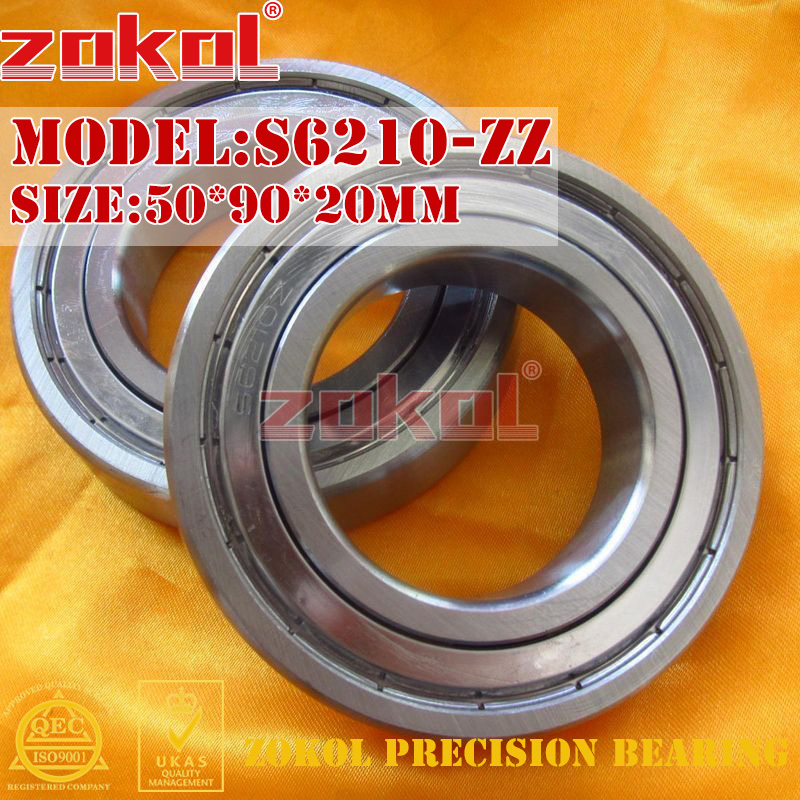 ZOKOL bearing 6210 ZZ S6210-ZZ S6210ZZ 80210 stainess steel Deep Groove ball bearing 50*90*20mm high quality sus440c environmental corrosion resistant stainless steel deep groove ball bearings s6210zz 50 90 20 mm