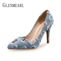 Women Pumps High Heels Shoes Female Casual Thin Heel Denim Ladies Shoe Fashion Slip On Pointed Toe Party Shoes Heels Plus Size