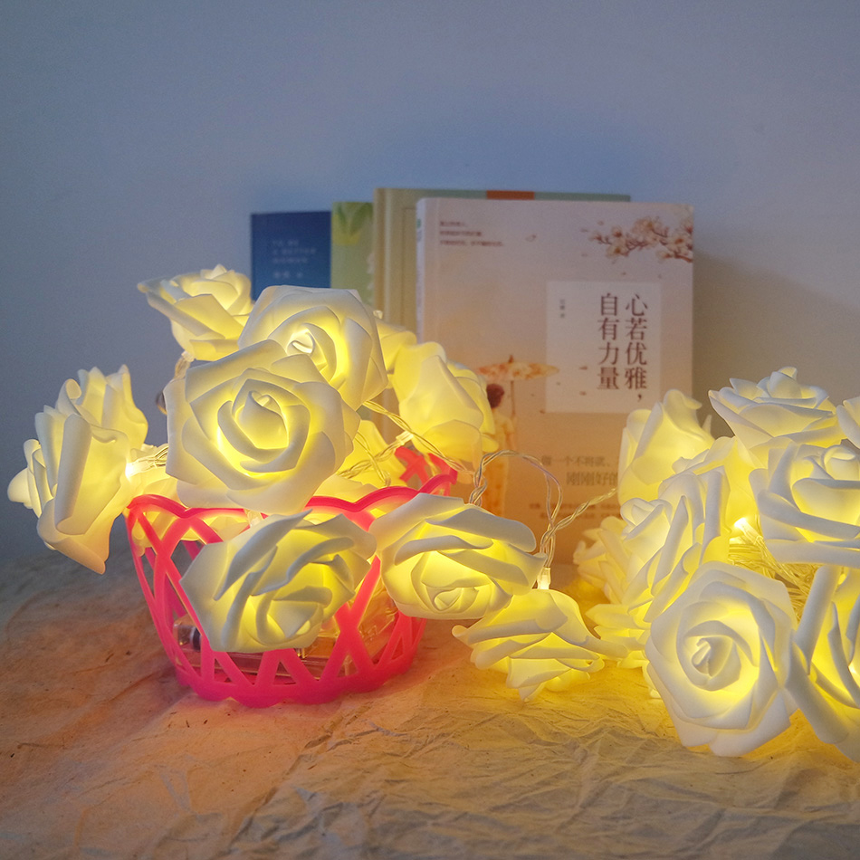 Novelty handmade rose LED String Lights, AA Battery fariy holiday light string led, Wedding Event rose garland decoration