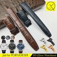 Watchband Cho ĐỐI IWC PORTUGIESER Chính Hãng Da Mỹ Crocodile Luxury Xem Nhạc Bracelet Dây Đeo Màu Xanh IW500107 IW371446 22 mét