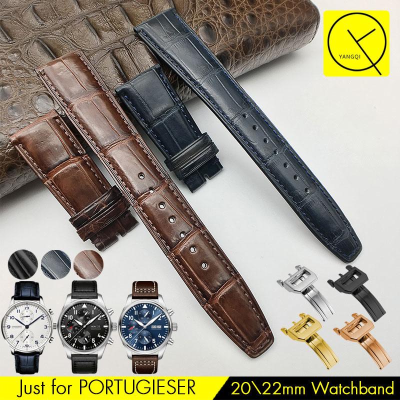 Watchband For IWC PORTUGIESER Genuine Leather American Crocodile Luxury Watch Band Bracelet Blue Strap IW500107 IW371446 22mm цена и фото