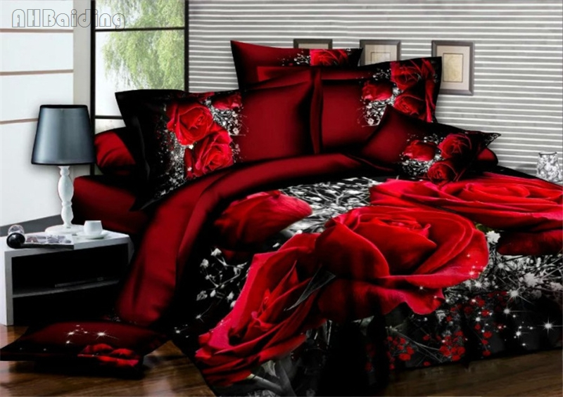 Lovers Red Rose Printed Bedding Set Soft Bed Linens 3/4pcs Bedclothes Twin Queen King Duvet Cover Set with Pillowcase Hot Sale