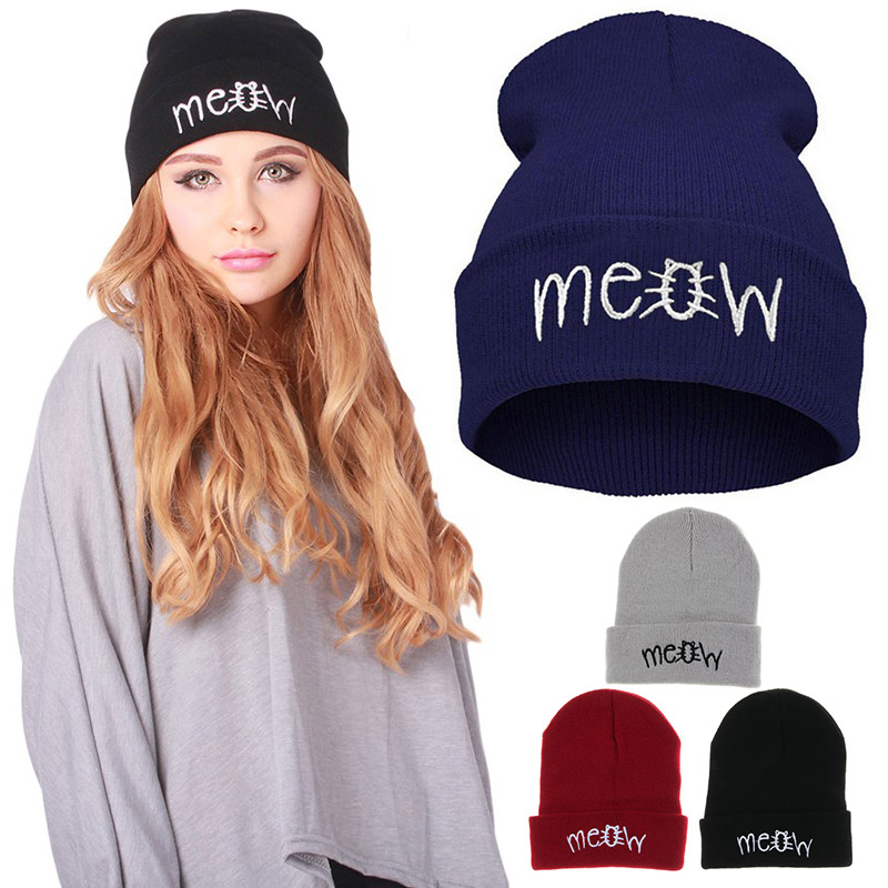 2018 NEW Winter Knitting Hat Embroidery Casual Daily Slouchy Hats Cap Outdoor Warm Beanies Caps Gorro FS99