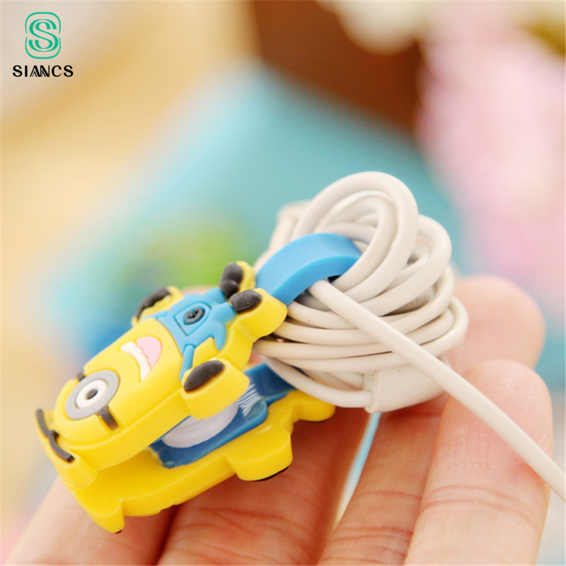 Cute Mini Cartoon Earphone Button USB Cable Winder Charging Wire Cord Organizer Holder for iPhone font