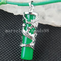 Free shipping Fashion Jewelry 10x32mm Green Jade Silver Dragon Column Pendant Bead  MC3542