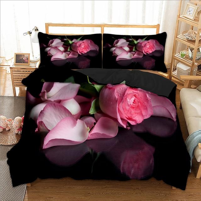 Rose 3D Bedding Set Twin Full Queen King UK Double AU Single Size Floral Duvet Cover Pillow Cases Comfortable Bed Linen 3pcs