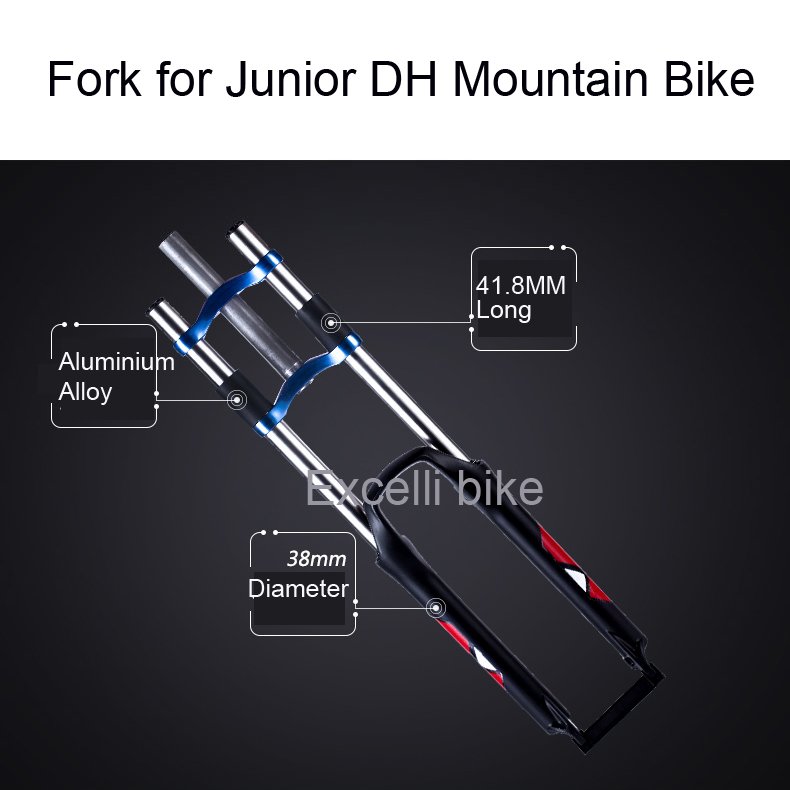Excelli DH Downhill Junior Moutain Bike Fork Shocking Fork Aluminium Alloy Downhill Bike26 Disc Brake Suspension Fork 21 24 27 speeds 26 2 35 dh downhill bicicletas 26 18 damping full suspension fork oil disc brake bicicleta dh mountain bike 26