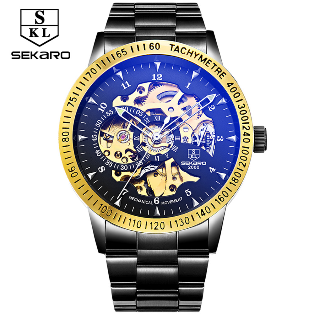 Hot Sale Luxury Golden Luminous Automatic Mechanical Watch For Male Hollow Skeleton Dial Black Stainless Steel Band Wristwatches hot sale mechanical shear blades for shearing machine