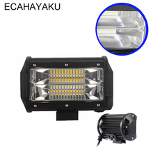 ECAHAYAKU 2Pcs 5inch 72w new flood beam waterproof 4x4 tractor car truck 12v 24v DC offroad LED work light foglight driving lamp