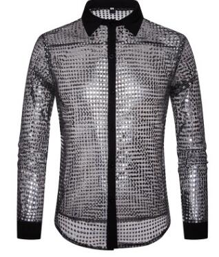 European Fashion Men's Plaid Shirts Autumn And Winter Glitter Big Body Point Scale Night Shop Design Men's Long Sleeve Shirt 9