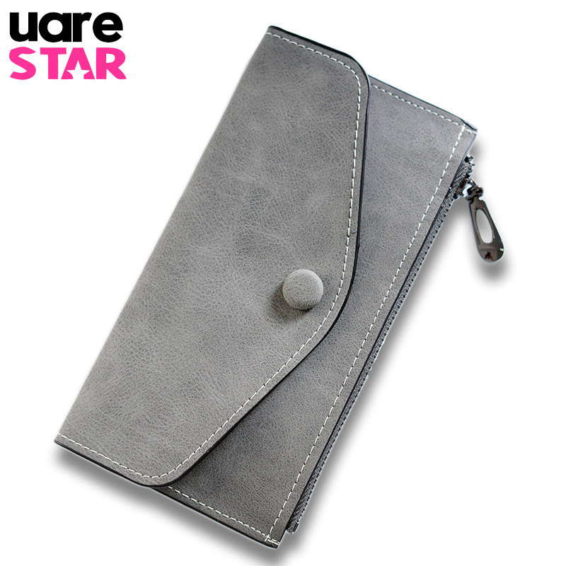 2017 Matte Leather Women's Wallet  Zipper Bag Vintage Female Wallet Purse Fashion Card Holder Phone Bag Portefeuille Femme