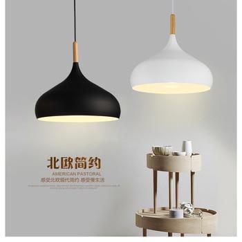 Nordic Pendant Lights Wood Aluminum Lampshade Industrial Lighting Loft Lamparas Dining Room Pendant Lamp E27 Light Fixtures