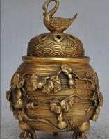 Chiński Fengshui Mosiądz Goose Sroka ptak Plum kwiat gurda kadzidło palnika Censer w Posągi i rzeźby od Dom i ogród na