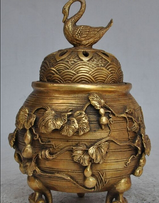 Chinese Fengshui Brass Goose Magpie Bird Plum Flower Gourd Incense Burner Censer