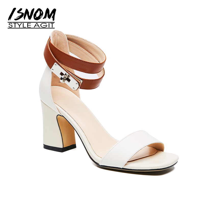 ISNOM Summer Gladiator High Heeled Sandals Women Genuine Leather Open Toe Footwear 2018 New Fashion Ankle Strap Ladies Shoes 2017 new summer fashion women casual shoes genuine leather lady leisure sandals gladiator all match ankle peep toe flowers