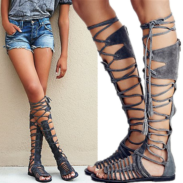European Design Women Summer Knee Length Booties Suede Peep Toe Strappy Gladiator Flat Sandals Shoes