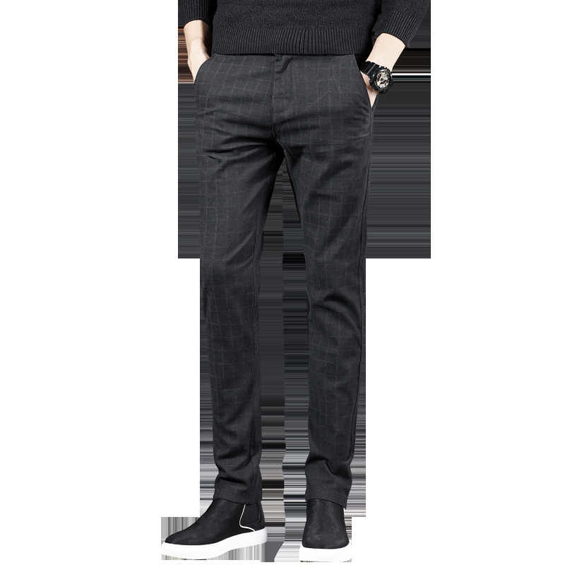 2019 модные новые высококачественные мужские штаны из хлопка весенне-осенние брюки мужские классические повседневные деловые брюки в британском стиле