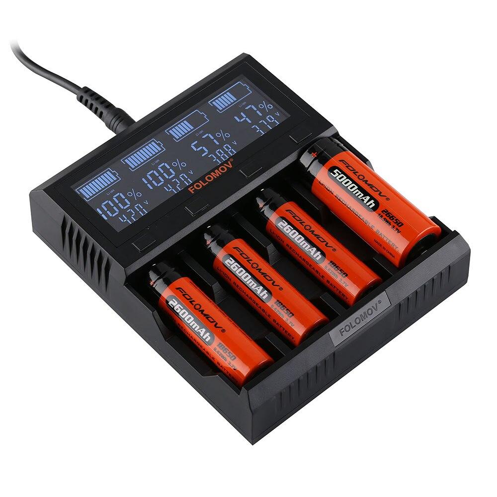 Folomov A4 Smart Батарея Зарядное устройство с ЖК-дисплей Экран 4 Порты и разъёмы 5A литий-ионные аккумуляторы быстро Зарядное устройство для LiFeP04 NiMH...