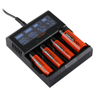 Folomov A4 Smart Battery Charger with LCD Screen 4 Port 5A Li ion Batteries Fast Charger for LiFeP04 NiMH/NiCd 18650 26650 AAA