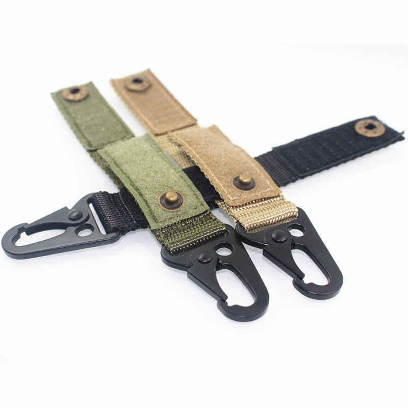 2pcs Nylon Key Hook Webbing Molle Buckle Hanging Belt Carabiner Clip Military BK