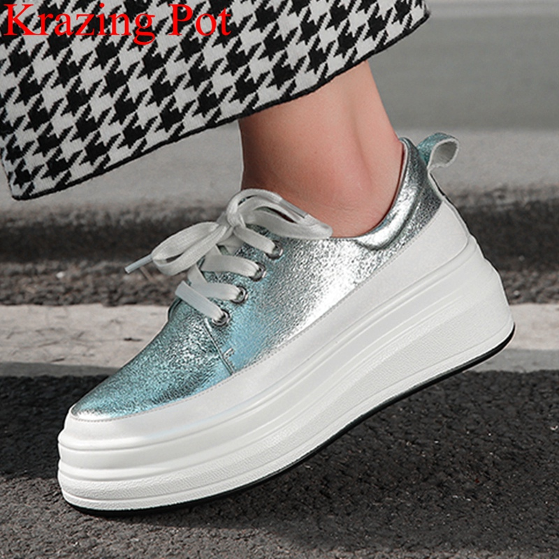 2019 large size genuine leather round toe lace up solid sneaker med heel platform preppy style casual women vulcanized shoes L152019 large size genuine leather round toe lace up solid sneaker med heel platform preppy style casual women vulcanized shoes L15