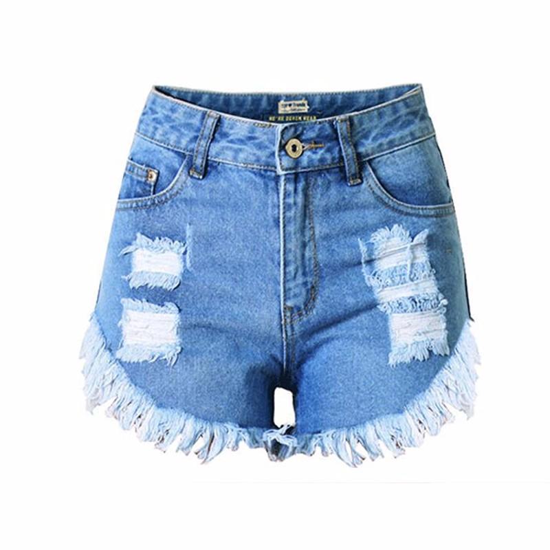 Women Vintage Ripped Hole Denim Shorts Casual Pocket Jean Short Pants 2016 Summer Girl Hot Shorts (2)