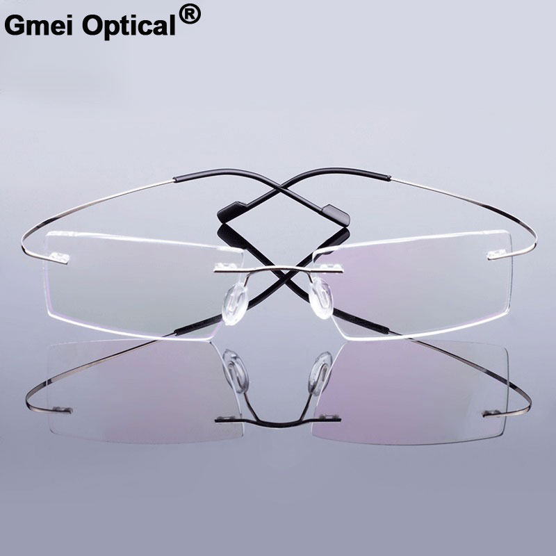 Gmei Optical Fashion Rimless Glasses Frame Memory Alloy Eyeglasses Prescription Ultralight Flexible Frames 9 Colors T8089