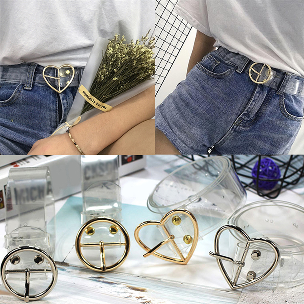 Heart Female Belt Resin Cute Transparent Belt Jeans Dress Waist Strap Pin Buckle Harajuku Ladies Round PVC Clear Belt