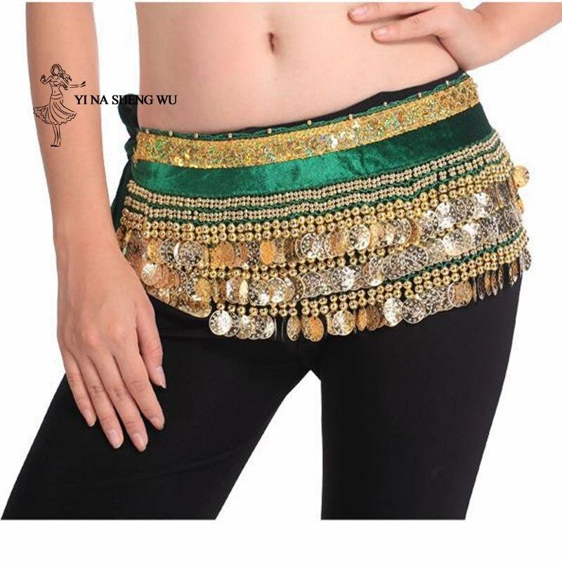 Belly Dance Hip Tassels Women Belly Dance Hip Scarf Costume Coin Wrap Belt Belly Dancing Accessories Belt