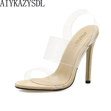 962a03899c AIYKAZYSDL 2018 Summer Jelly Shoes Women Clear Transparent Sstrap Sandals  High Heel Slip On Solid Pumps