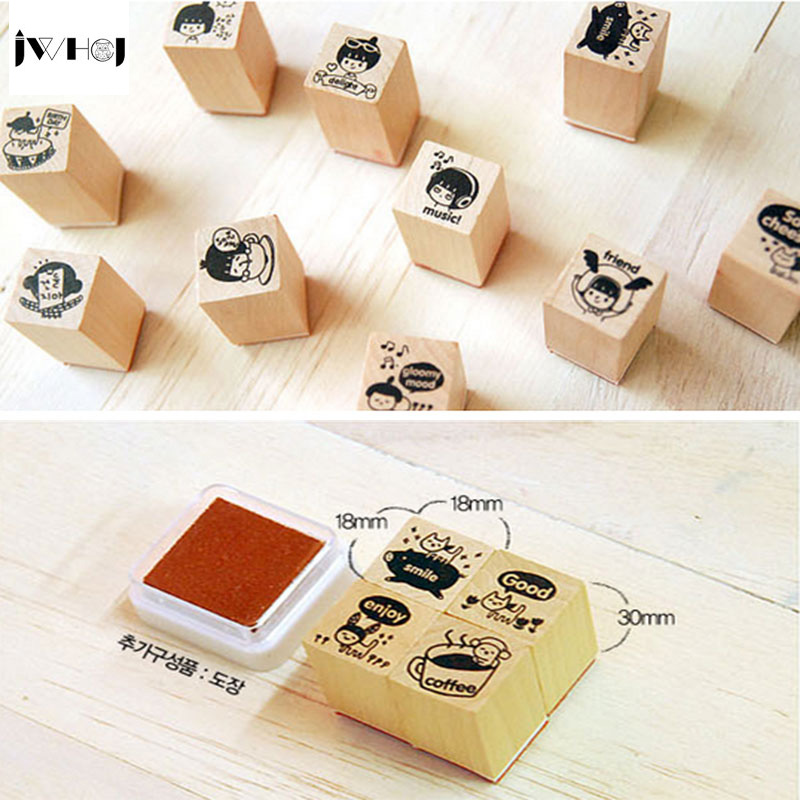 4 pcs/set cat wooden rubber stamp With inkpad Kids DIY Handmade Scrapbook Photo Album, students Stamp Arts, Crafts gifts