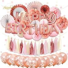 Nicrolandee 62 pçs/set feliz aniversário festa decorações kit rosa lanternas de ouro flores balões decoração para casa festa diy