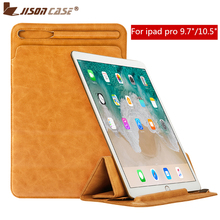 Купить с кэшбэком Jisoncase Leather Sleeve Case Pouch for iPad Pro 10.5 2017 Cover Creative Soft Folding Sleeve Bag with Pencil Slot for iPad 9.7