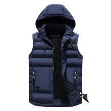 FGKKS Fashion Brand Men's Hooded Vests Winter Warm Sleeveless Jackets Men Coats Solid Casual Vest Male Waistcoats